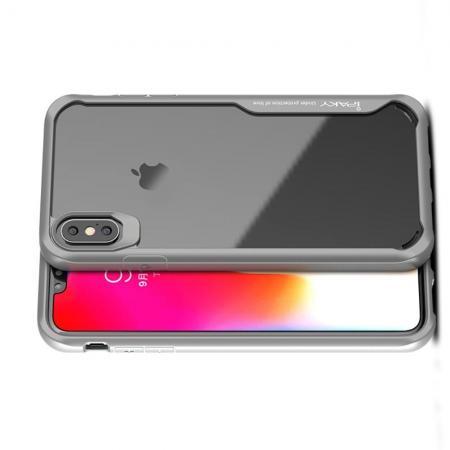 IPAKY Противоударный прозрачный пластиковый кейс с силиконовым бампером для iPhone XS Max Серый