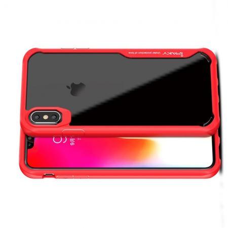 IPAKY Противоударный прозрачный пластиковый кейс с силиконовым бампером для iPhone XS Max Красный