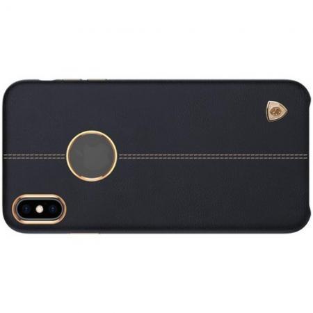 Кейс накладка NILLKIN Englon искусственно кожаный чехол для iPhone XS Черный