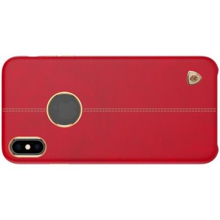 Кейс накладка NILLKIN Englon искусственно кожаный чехол для iPhone XS Красный