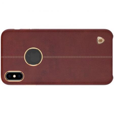 Кейс накладка NILLKIN Englon искусственно кожаный чехол для iPhone XS Коричневый