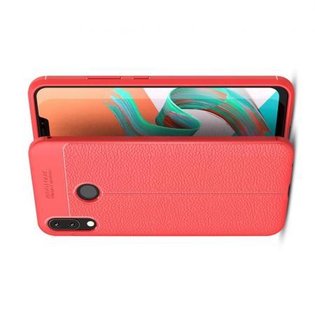 Litchi Grain Leather Силиконовый Накладка Чехол для Asus Zenfone Max M2 ZB633KL с Текстурой Кожа Красный