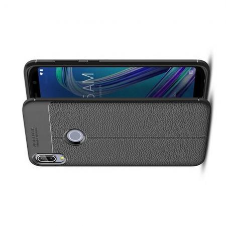 Litchi Grain Leather Силиконовый Накладка Чехол для Asus Zenfone Max Pro M1 ZB602KL с Текстурой Кожа Черный