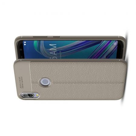Litchi Grain Leather Силиконовый Накладка Чехол для Asus Zenfone Max Pro M1 ZB602KL с Текстурой Кожа Серый