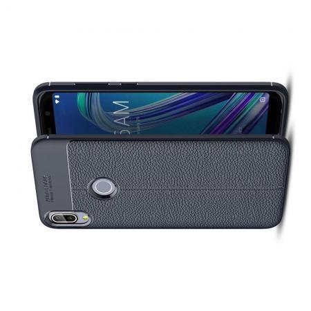 Litchi Grain Leather Силиконовый Накладка Чехол для Asus Zenfone Max Pro M1 ZB602KL с Текстурой Кожа Синий
