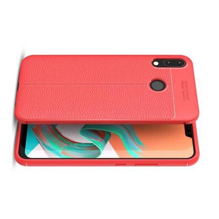 Litchi Grain Leather Силиконовый Накладка Чехол для Asus Zenfone Max Pro M2 ZB631KL с Текстурой Кожа Красный