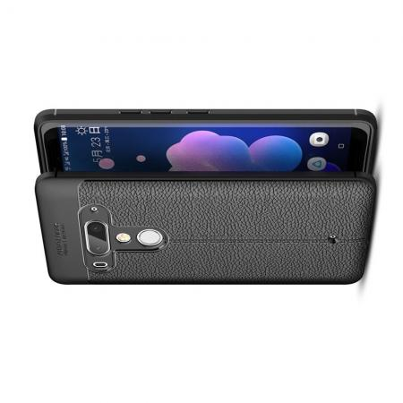 Litchi Grain Leather Силиконовый Накладка Чехол для HTC U12+ с Текстурой Кожа Черный