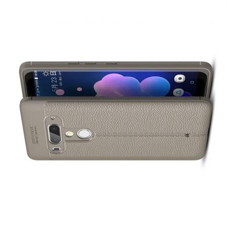 Litchi Grain Leather Силиконовый Накладка Чехол для HTC U12+ с Текстурой Кожа Серый