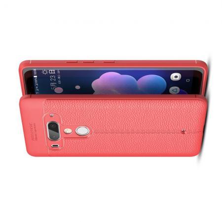 Litchi Grain Leather Силиконовый Накладка Чехол для HTC U12+ с Текстурой Кожа Коралловый