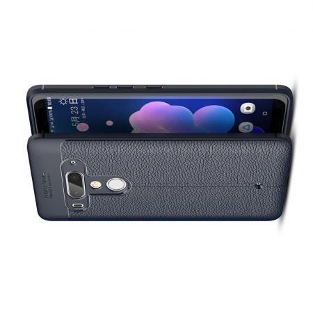 Litchi Grain Leather Силиконовый Накладка Чехол для HTC U12+ с Текстурой Кожа Синий