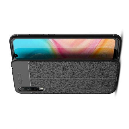 Litchi Grain Leather Силиконовый Накладка Чехол для Huawei Honor 10i / Honor 20 Lite с Текстурой Кожа Черный