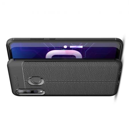 Litchi Grain Leather Силиконовый Накладка Чехол для Huawei Honor 10i с Текстурой Кожа Черный