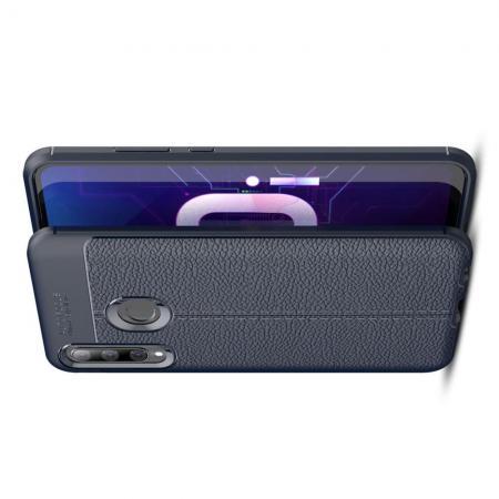Litchi Grain Leather Силиконовый Накладка Чехол для Huawei Honor 10i с Текстурой Кожа Синий