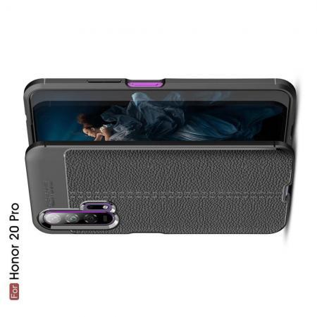 Litchi Grain Leather Силиконовый Накладка Чехол для Huawei Honor 20 Pro с Текстурой Кожа Черный