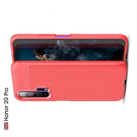 Litchi Grain Leather Силиконовый Накладка Чехол для Huawei Honor 20 Pro с Текстурой Кожа Коралловый