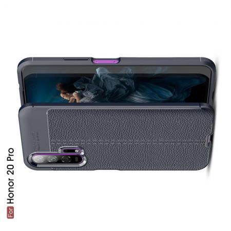 Litchi Grain Leather Силиконовый Накладка Чехол для Huawei Honor 20 Pro с Текстурой Кожа Синий