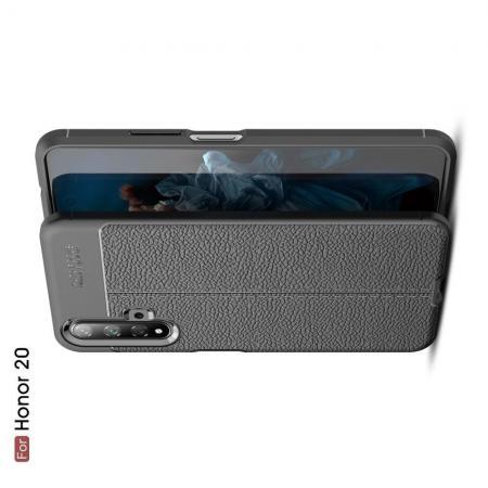 Litchi Grain Leather Силиконовый Накладка Чехол для Huawei Honor 20 с Текстурой Кожа Черный