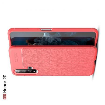 Litchi Grain Leather Силиконовый Накладка Чехол для Huawei Honor 20 с Текстурой Кожа Коралловый