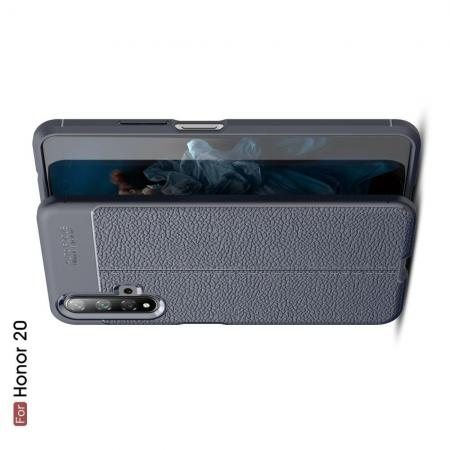 Litchi Grain Leather Силиконовый Накладка Чехол для Huawei Honor 20 с Текстурой Кожа Синий