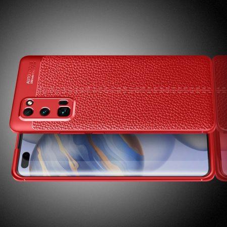 Litchi Grain Leather Силиконовый Накладка Чехол для Huawei Honor 30 Pro с Текстурой Кожа Красный