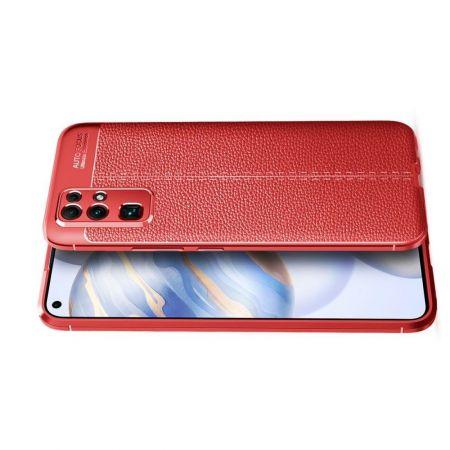 Litchi Grain Leather Силиконовый Накладка Чехол для Huawei Honor 30 с Текстурой Кожа Красный