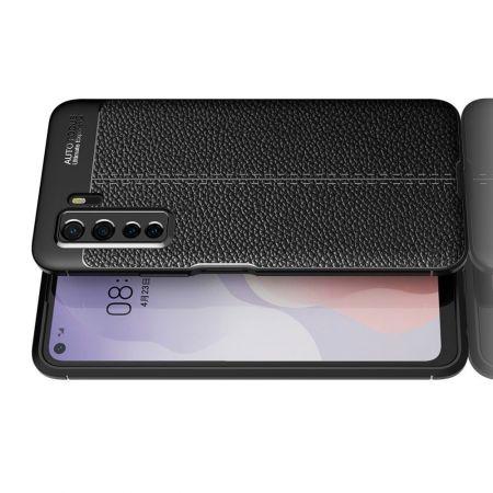 Litchi Grain Leather Силиконовый Накладка Чехол для Huawei Honor 30S с Текстурой Кожа Черный