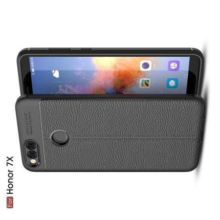 Litchi Grain Leather Силиконовый Накладка Чехол для Huawei Honor 7X с Текстурой Кожа Черный