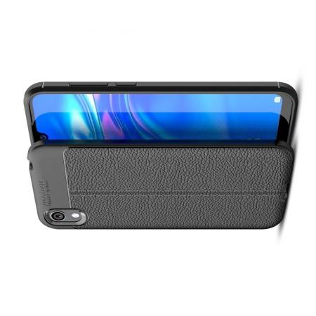 Litchi Grain Leather Силиконовый Накладка Чехол для Huawei Honor 8S / Y5 2019 с Текстурой Кожа Черный