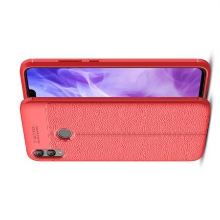 Litchi Grain Leather Силиконовый Накладка Чехол для Huawei Honor 8X с Текстурой Кожа Красный