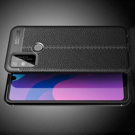 Litchi Grain Leather Силиконовый Накладка Чехол для Huawei Honor 9A с Текстурой Кожа Черный