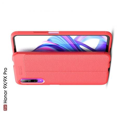 Litchi Grain Leather Силиконовый Накладка Чехол для Huawei Honor 9X Pro / Honor 9X с Текстурой Кожа Красный
