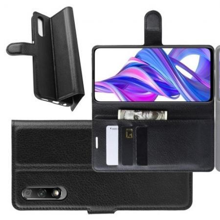 Litchi Grain Leather Силиконовый Накладка Чехол для Huawei Honor 9X с Текстурой Кожа Черный