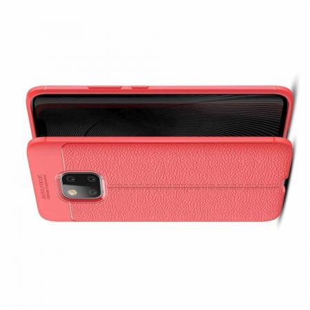 Litchi Grain Leather Силиконовый Накладка Чехол для Huawei Mate 20 Pro с Текстурой Кожа Коралловый