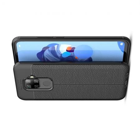 Litchi Grain Leather Силиконовый Накладка Чехол для Huawei Mate 30 Lite с Текстурой Кожа Черный