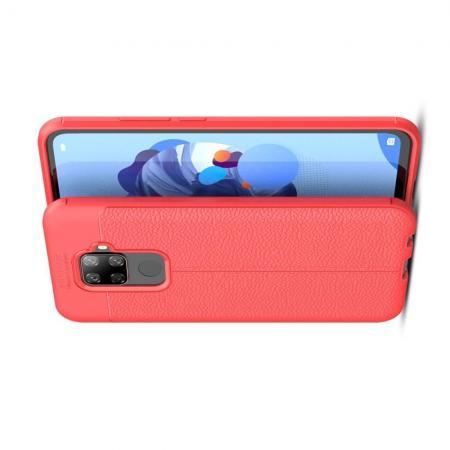Litchi Grain Leather Силиконовый Накладка Чехол для Huawei Mate 30 Lite с Текстурой Кожа Красный