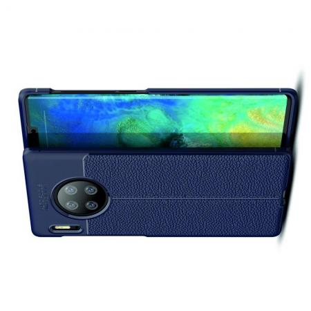 Litchi Grain Leather Силиконовый Накладка Чехол для Huawei Mate 30 Pro с Текстурой Кожа Синий