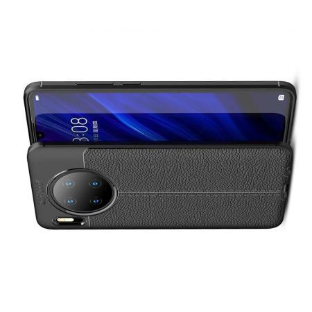 Litchi Grain Leather Силиконовый Накладка Чехол для Huawei Mate 30 с Текстурой Кожа Черный