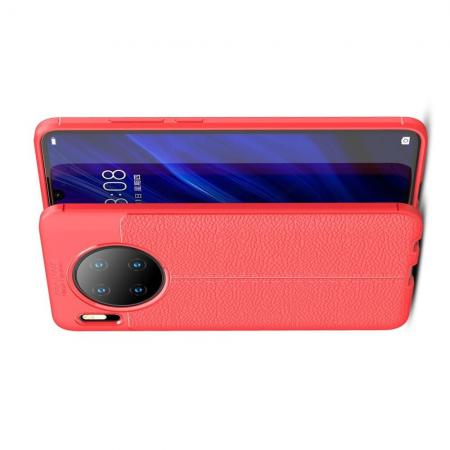 Litchi Grain Leather Силиконовый Накладка Чехол для Huawei Mate 30 с Текстурой Кожа Красный