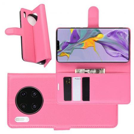 Litchi Grain Leather Силиконовый Накладка Чехол для Huawei Mate 30 с Текстурой Кожа Розовый