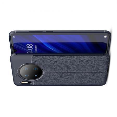 Litchi Grain Leather Силиконовый Накладка Чехол для Huawei Mate 30 с Текстурой Кожа Синий