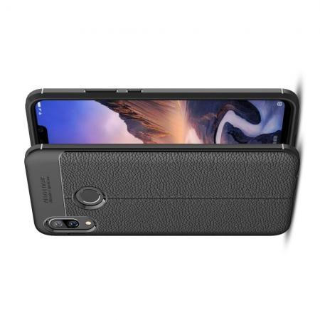 Litchi Grain Leather Силиконовый Накладка Чехол для Huawei nova 3 с Текстурой Кожа Черный
