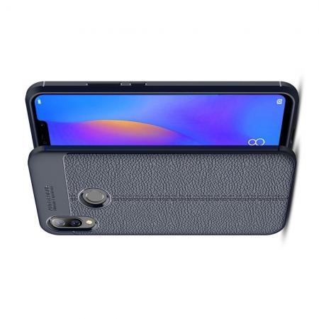 Litchi Grain Leather Силиконовый Накладка Чехол для Huawei P smart+ / Nova 3i с Текстурой Кожа Синий