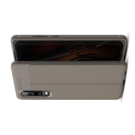 Litchi Grain Leather Силиконовый Накладка Чехол для Huawei P30 с Текстурой Кожа Серый
