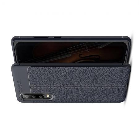Litchi Grain Leather Силиконовый Накладка Чехол для Huawei P30 с Текстурой Кожа Синий