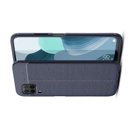 Litchi Grain Leather Силиконовый Накладка Чехол для Huawei P40 Lite с Текстурой Кожа Синий