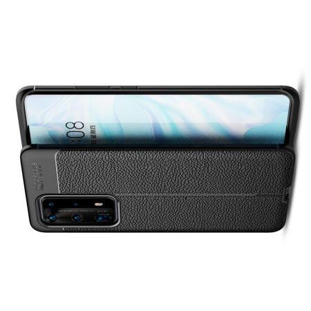 Litchi Grain Leather Силиконовый Накладка Чехол для Huawei P40 Pro+ / Pro Plus с Текстурой Кожа Черный