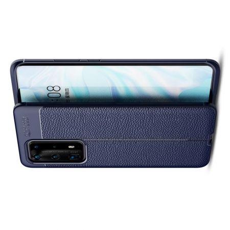 Litchi Grain Leather Силиконовый Накладка Чехол для Huawei P40 Pro+ / Pro Plus с Текстурой Кожа Синий