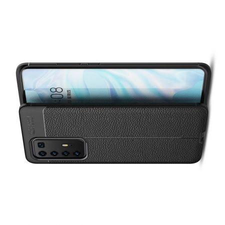Litchi Grain Leather Силиконовый Накладка Чехол для Huawei P40 Pro с Текстурой Кожа Черный