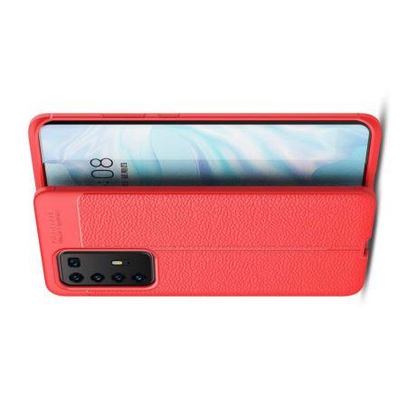 Litchi Grain Leather Силиконовый Накладка Чехол для Huawei P40 Pro с Текстурой Кожа Красный