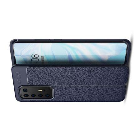 Litchi Grain Leather Силиконовый Накладка Чехол для Huawei P40 Pro с Текстурой Кожа Синий